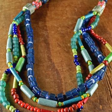Multi-Strand Necklace, Mykonos, Greek Beaded Necklace, Green, Blue, Terracott, Boho Tribal Jewelry