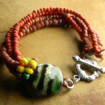 Green Red Bracelet Mexican Style Jewelry Tejana Collection