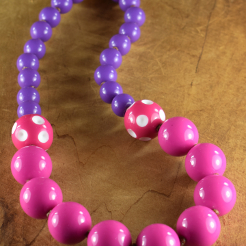 Toddler Girl Tribal Necklace, Acrylic, Resin, Pink, Purple, Girly Girl Jewelry