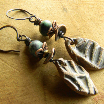 Tribal Earrings, Woman's Earrings, African Turquoise, Artisan Ceramic, Primitive Jewelry