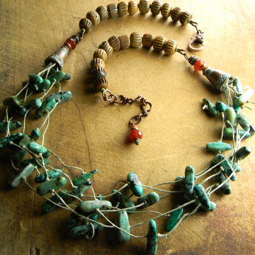 African Turquoise Knotted Necklace