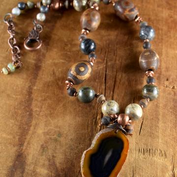 Tribal Agate Pendant Necklace, Agate Slice, Neutral Colors, Artistic Jasper, Copper