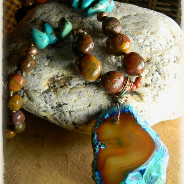 Agate and Turquoise Necklace