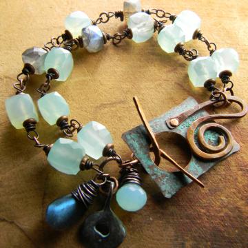 Chalcedony and Labradorite Bracelet