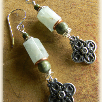 Aquamarine Sterling Silver Earrings African Turquoise Cross Mixed Metal Rustic Bohemian Jewelry