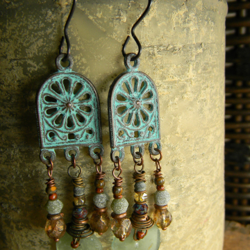 Roman Glass Chandelier Earrings