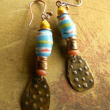 Blue Krobo Bead Earrings Tribal Rustic Copper Handmade OOAK Jewelry