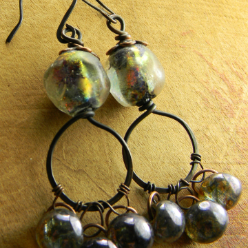 Basha Bead Hoop Earrings Czech Glass Drop Dangles