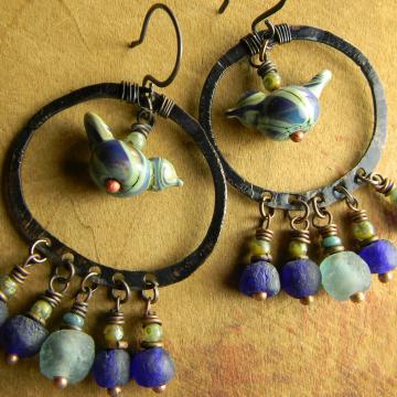 Bird Earrings Artisan Lampwork Glass African Recycled Green Cobalt Blue