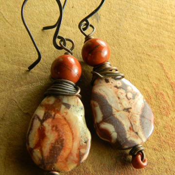 Tribal Earrings, Birds Eye Rhyolite, Red Jasper Earrings, Copper Wire Wrapped