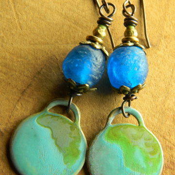 Brilliant Blue African Earrings Recycled Glass Trade Beads Green Patina Brass Tribal Jewelry