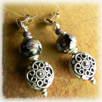 Sterling Silver Beaded Post Earrings Ceramic Black Purple Violet Bohemian Jewelry
