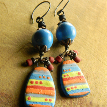 Colorful Stripe Dot Boho Earrings Artisan Blue Ceramic Copper