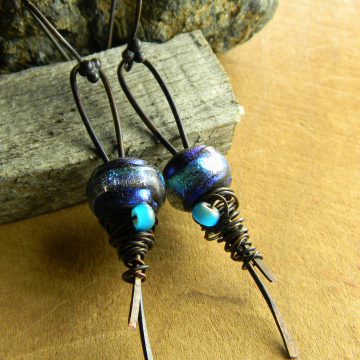 Blue Basha Bead Earrings Copper Wire Wrapped Handmade Tribal Jewelry