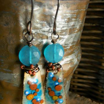 Copper Enamel Dangle Earrings Blue Turquoise Rusty Brown Wire Wrapped Bohemian Jewelry
