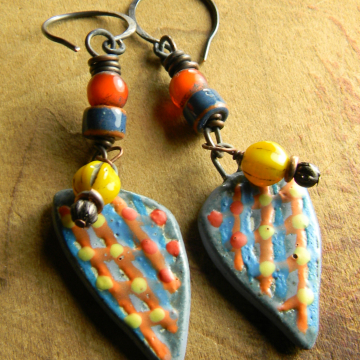 Tribal Earrings Colorful Artisan Ceramic Orange Blue Copper