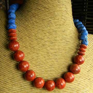 Tejana Collection Red Blue Choker Necklace Primitive Ethnic Jewelry
