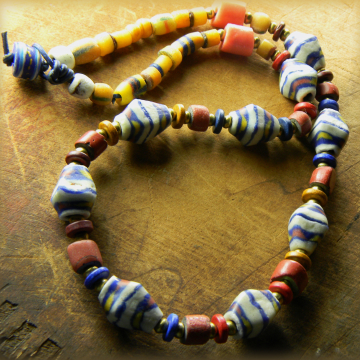 African Krobo Necklace Ethnic Red Blue Yellow Leather Tribal Handmade Jewelry