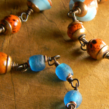 Rustic Blue Necklace Copper African Recycled Glass Greek Ceramic Tribal Bohemian Jewelry