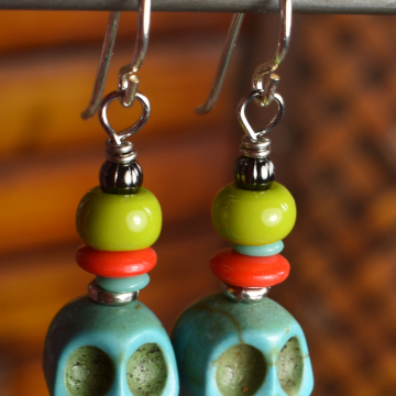 Blue Skull Earrings, Day of the Dead, Halloween, Colorful Earrings, Teen Earrings
