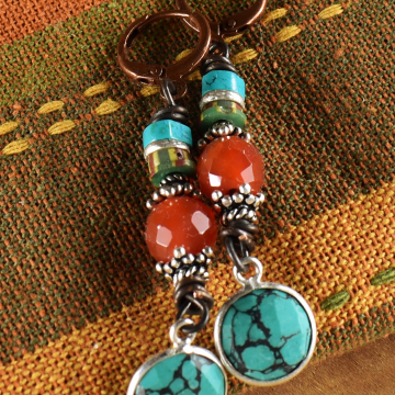 Blue Turquoise Beaded Earrings, Sterling Silver, Carnelian, Striped Aja Beads, Copper