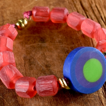 Watermelon Bracelet, Purple, Green, Pink, Eye Focal, Handmade, Children's Jewelry