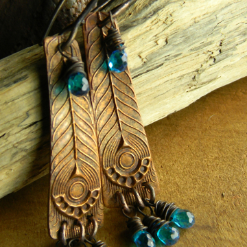 Blue Zircon Copper Earrings