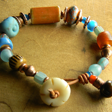 Colorful Bracelet Orange Blue Carved Bone Copper Leather