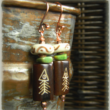 Primitive Fish Earrings Carved Bone Brown Green Boho Southwestern OOAK Jewelry