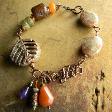 Tribal Jasper Bracelet African Brass Orange Green Rustic Beaded Handmade OOAK Jewelry