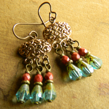 Artisan Bronze Earrings Aqua Sienna Feminine Chandelier Hypoallergenic