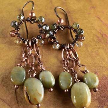 Cat's Eye Beaded Earrings, Rustic Chandelier Earrings, Indian Summer, Antique Copper