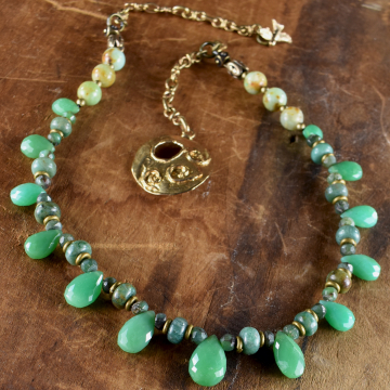 Chrysoprase Choker Necklace, Green, Faceted Briolettes, Artisan Bronze, Boho Tribal Jewelry