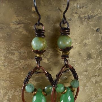 Green Chrysoprase Dangle Earrings, Southwestern Earrings, Copper Wire Wrap, Boho, Tribal, Hippie Earrings
