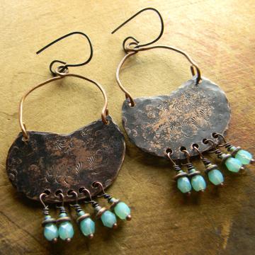 Hammered Copper Basket Hoop Earrings