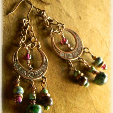 Crescent Moon Earrings Garnet Copper Green Handmade Tribal Rustic Bohemian Jewelry