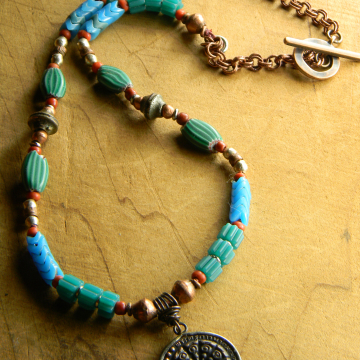 Buddha Wheel Pendant, Amulet Necklace, Tribal Necklace, Vintage African Trade Beads, Tribal Jewelry