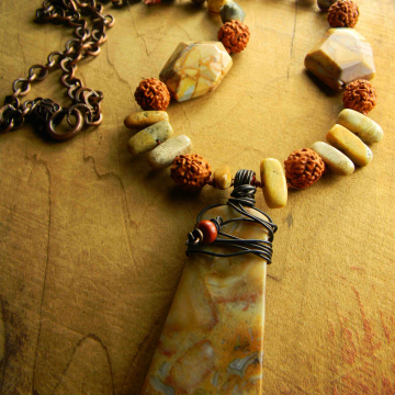 Agate Necklace, Woman's Necklace, Crazy Lace Agate, Pendant, Extra Long, Yellow, Rust, Tribal Jewelry