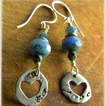 Artisan Sterling Heart Earrings with Blue Czech Glass