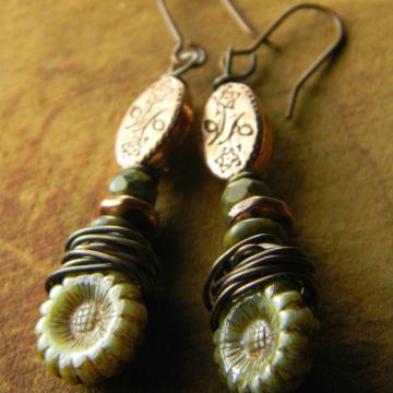 Southwestern Wrapped Copper Dangle Earrings White Green Boho Rustic Handmade OOAK Jewelry