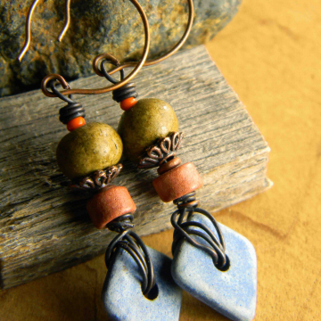 Denim Ceramic Drop Earrings
