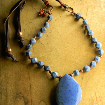 Blue Marquis Dumortierite Pendant Necklace, Chambray, Tribal Necklace, Red Jasper, Leather, Copper