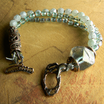 Asymmetrical Bead Bracelet Pale Blue Green Czech Glass Rustic Copper Jewelry