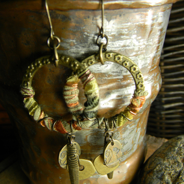Fiber Wrapped Brass Hoop Earrings Tribal Rustic Handmade  OOAK Jewelry
