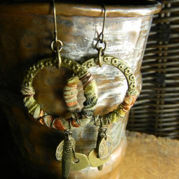 Fiber Wrapped Boho Hoop Earrings