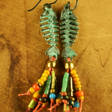 Fish Earrings, Tribal Earrings, Fish Skeleton, Mykonos, Verdigris Patina, Colorful Fringe