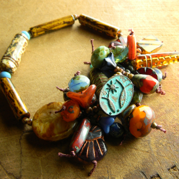 Colorful Czech Glass Beaded Bracelet Orange Red Blue Rustic Copper Handmade OOAK Jewelry
