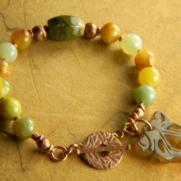 Flower Jade Bracelet Ocean Jasper Solid Copper