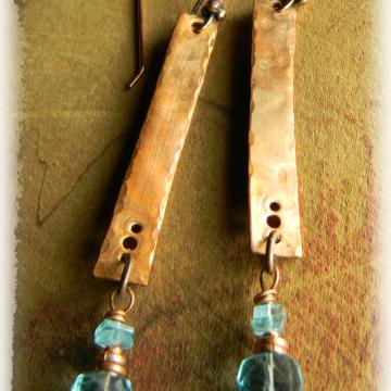 Aqua Fluorite and Copper Stick Earrings