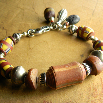Tribal Bracelet, African Trade Beads, Vintage Venetian Beads, Colorful African Bracelet, Tribal Jewelry